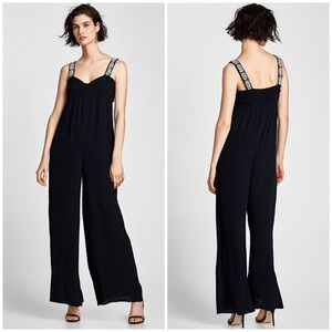 NWT ZARA JEWELED SIZE XS BLACK JUMPSUIT 🌸❤️
